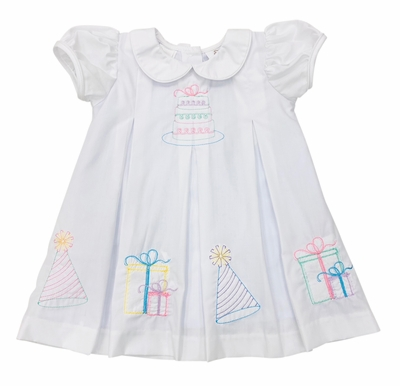 The Best Dressed Child Baby / Toddler Girls White Birthday Dress - Embroidered Cake & Gifts