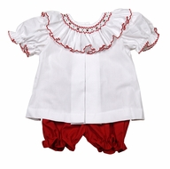 The Best Dressed Child Baby / Toddler Girls White / Red Ally Smocked Christmas Bloomers Set