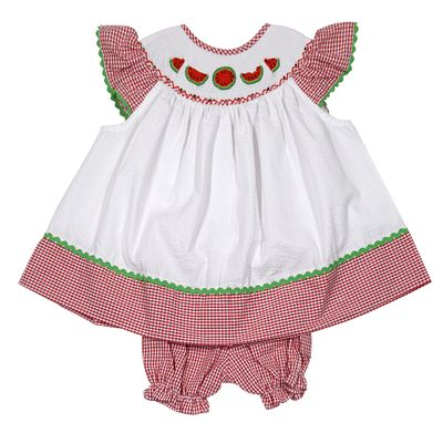 The Best Dressed Child Baby / Toddler Girls White / Red Gingham Smocked Watermelons Bloomers Set