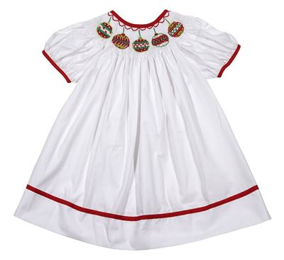 The Best Dressed Child Baby / Toddler Girls White Smocked Christmas Ornaments Bishop Dress