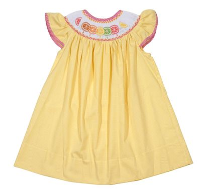 The Best Dressed Child Baby / Toddler Girls Yellow Gingham Smocked Citrus Fruit Bishop Dress