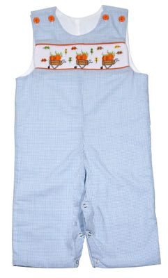 The Best Dressed Child Boys Blue Gingham Smocked Pumpkin Wagons Longall