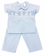 The Best Dressed Child Boys Blue Check Smocked White Reindeer & Snowy Trees Pant Set