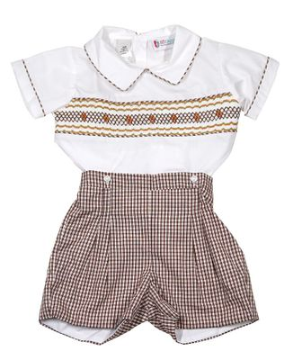 The Best Dressed Child Boys Brown Check Smocked Button On Shorts Outfit