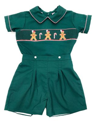 The Best Dressed Child Boys Green Smocked Gingerbread Man Button On Shorts Outfit