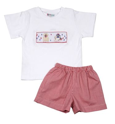 The Best Dressed Child Boys Red Gingham Shorts with Smocked Patriotic Dogs Shirt