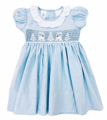 The Best Dressed Child Girls Blue Check Smocked White Reindeer & Snowy Trees Dress - Ruffle Collar