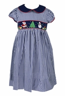 The Best Dressed Child Girls Blue Check Smocked Santa and Christmas Tree Dress with Sash