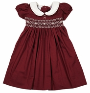 The Best Dressed Child Girls Cranberry Burgundy Rose Dress - Smocked with Collar and Sash