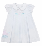 The Best Dressed Child Girls Dana Dress - B is for Big Sister with Baby Carriage - White
