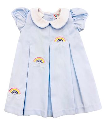 The Best Dressed Child Girls Dana Dress - Blue with Embroidered Rainbows