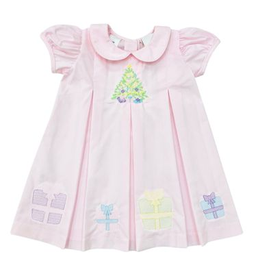The Best Dressed Child Girls Dana Dress - Pink Embroidered Christmas Tree & Gifts