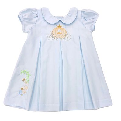 The Best Dressed Child Girls Blue Dana Dress - Embroidered Cinderella Pumpkin Carriage