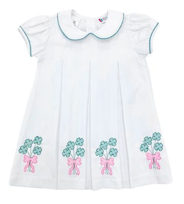 The Best Dressed Child Girls Dana Pleat Dress - White with Green Clover Balloons