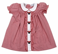 The Best Dressed Child Girls Embroidered Minnie Mouse Ruffle Dress - Red Gingham