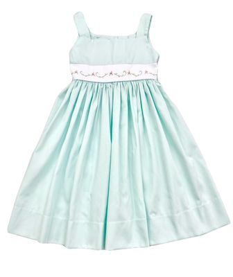 The Best Dressed Child Girls Embroidered Pique Dress - Pastel Mint Green