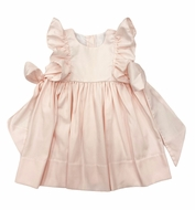 The Best Dressed Child Girls Giselle Pinafore Dress with Side Bows - Peach