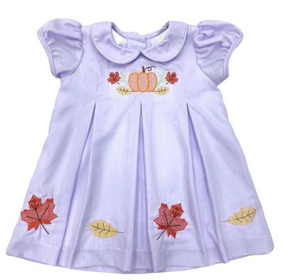 The Best Dressed Child Girls Lavender Dana Dress - Embroidered Pumpkin and Fall Leaves