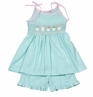 The Best Dressed Child Girls Mint Green Gingham Smocked Snow Cones Shorts Set