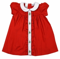 The Best Dressed Child Girls Molly Christmas Dress - Red with Candy Cane Embroidery