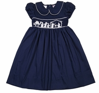 The Best Dressed Child Girls Navy Blue Smocked Nativity Dress - Collar & Sash
