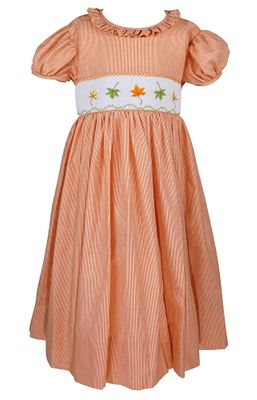 The Best Dressed Child Girls Orange Smocked Fall Leaves Dress - Ruffle Collar - Sash