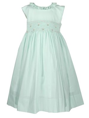 The Best Dressed Child Girls Sleeveless Smocked Dress - Ruffle Neck - Pastel Mint Green