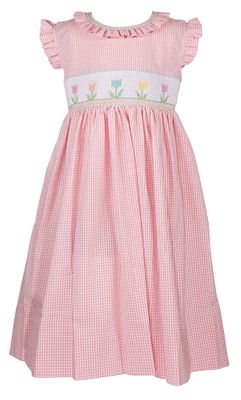 The Best Dressed Child Girls Pink Check Rose Dress - Smocked Tulips