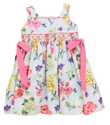 The Best Dressed Child Girls Pink Floral Smocked Dress with Bows