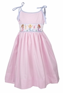 The Best Dressed Child Girls Pink Gingham Smocked Mermaids Sun Dress with Ties