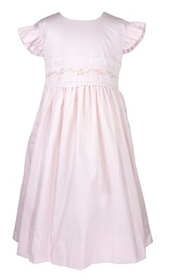 The Best Dressed Child Girls Pique Embroidered Dress with Sash - Pink