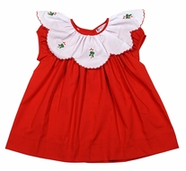 The Best Dressed Child Girls Red Christmas Dress - Candy Cane Embroidery on Scallop Collar