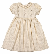 The Best Dressed Child Girls Rose Dress - Tan Swiss Dot - Fall Embroidery and Sash