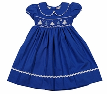 The Best Dressed Child Girls Royal Blue Smocked Christmas Trees Dress - Collar & Sash
