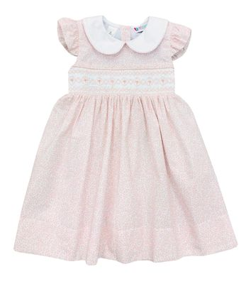 The Best Dressed Child Girls Smocked Dress with Collar - Pink Floral