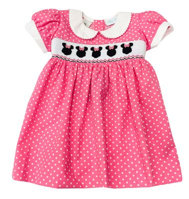 The Best Dressed Child Girls Smocked Minnie Mouse Dress - Pink Dots