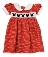 The Best Dressed Child Girls Smocked Minnie Mouse Dress - Red Dots