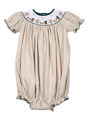 The Best Dressed Child Girls Tan Check Smocked Duck Life Bubble