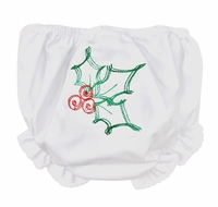 The Best Dressed Child Girls White Diaper Cover / Bloomers - Embroidered Christmas Holly