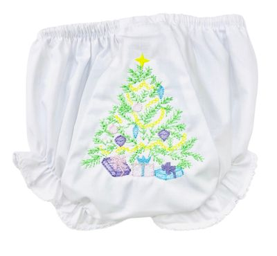 The Best Dressed Child Girls White Diaper Cover / Bloomers - Embroidered Christmas Tree