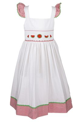 The Best Dressed Child Girls White / Red Gingham Smocked Watermelons Sun Dress