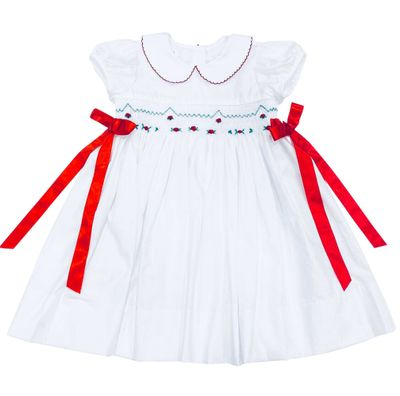 The Best Dressed Child Girls White Smocked Christmas Dress - Red Bows at Sides