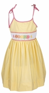 The Best Dressed Child Girls Yellow Gingham Smocked Citrus Fruit Sun Dress with Ties