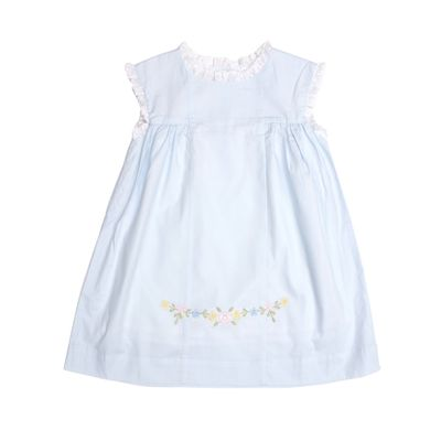 The Oaks Apparel Girls Anika Dress - Blue with Embroidered Flowers