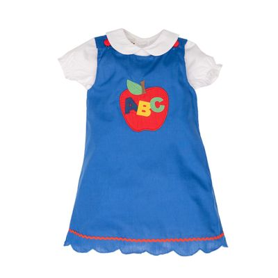 The Oaks Apparel Girls Carol Jumper with Blouse - Royal Blue - Red ABC Apple