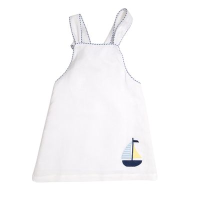 The Oaks Apparel Girls Collins Dress - White with Sailboat - Bow on Back!