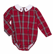 The Oaks Baby Boys Harry Red Holiday Plaid Bubble - Toy Soldier Embroidered Collar