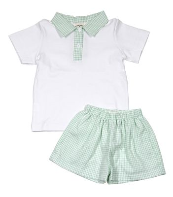 The Oaks Baby / Toddler Boys Green Check Holden Shorts Set with Collared Shirt