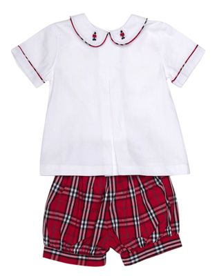 The Oaks Baby / Toddler Boys Hendrix Red Plaid - Toy Soldier Embroidered Collar Short Set