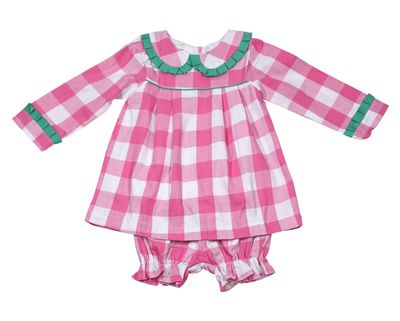 The Oaks Baby / Toddler Girls Amber Hot Pink Check Dress Set